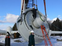 "Winter construction at Springhill, Nova Scotia. This turbine was named ""Snowbird"" – a Vensys 1.2 MW wind turbine"