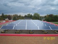 Rooftop solar at Firehall #3 in Kingston, ON. One of 10 projects built on behalf of City of Kingston in 2011 by 3G acting as OEM. Modules by Canadian Solar Inc.