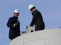 German and Canadian technicians toiling on a wind turbine – Higgins Mountain - 2006